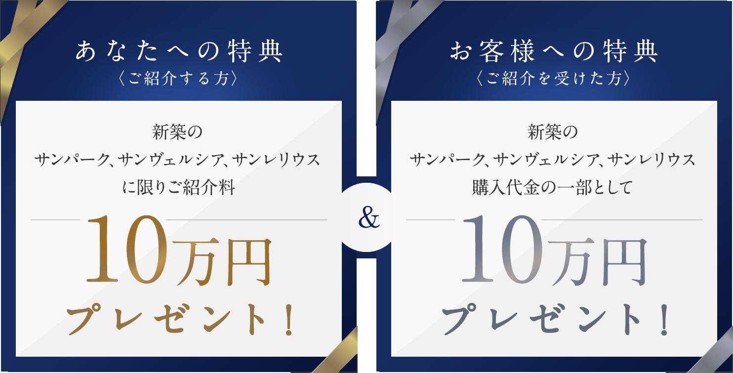 新築のサンパーク、サンヴェルシア、サンレリウスに限りご紹介料・購入代金の一部として10万円プレゼント!